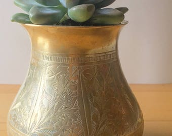 Small Etched Vintage Brass Planter
