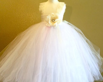 Ivory and white tulle flower girl dress with lace details-custom made up to size 3t