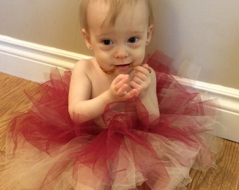 Red and cream double layered tutu