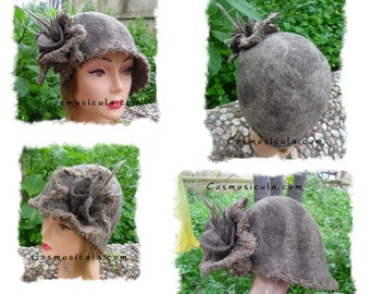 Belle epoque -  Felt  woman hat, made entirely by hand with carded wool. Cloche 30s with flower