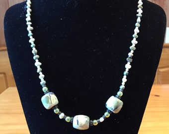 African turquoise and freshwater pearl necklace
