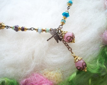 Boho Hippie Fairy Glass Bead Necklace New and Vintage Pink and Colors Glass Bead Necklace with Dragonfly and Filigree Findings