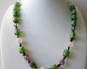 ON SALE Vintage 1950s Venetian Fiorato Murano Faceted Frosted Glass Garden Party Necklace 5817