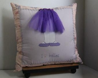 Hand Applique Ballerina Pillow, Ballet Dancer