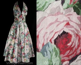 Size 10 Halter Dress - 1980s Does 50s - Pastel Pink Blue Green Cabbage Roses Cotton - 80s Summer Sun Dress Full Skirt - Waist 27 - 50768