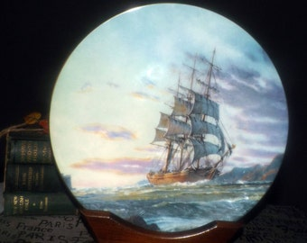 Vintage (1984) Royal Doulton Log of the Dashing Wave John Stobart Ship Scenes limited-edition plate. Plate 6 Journey's End. 3555/15000