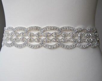 "Luxury Crystal Bridal Sash All around Wedding Dress Sash Belt  Rhinestone Sash  Bridal Bridesmaid Sash Belt Wedding dress sash 2"""