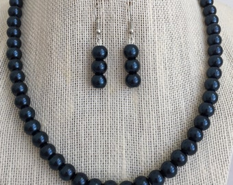 Dark Navy Blue Pearl Necklace, Midnight Blue Jewelry, Navy Blue Wedding Jewelry Set, Bridesmaid Gift, Beaded Jewelry, Blue Pearl Earrings