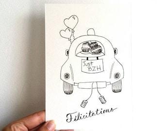 Carte, félicitations, mariage, mariés, love, union, illustration, encre noire, art mural, couple, amoureux, noir, blanc, dessin, bretagne,