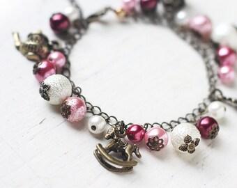 Romantic Tea Party Charm Bracelet in Antique Brass - Fairy Tale Themed Bracelet in Pastel Pink
