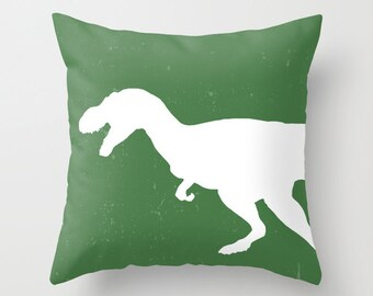 T-Rex Pillow with insert Cover - Green and White - Dinosaur Decorative Pillow with insert - Accent Pillow with insert