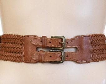 Vintage Belt, Leather Belt, Brown Belts, 1980s, Women's Belt, Women's Accessories, Braided Belt, Cognac Belts, Gift For Her, Ann Taylor