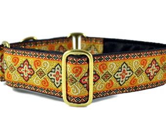 Martingale Dog Collar or Buckle Dog Collar - Custom Dog Collar - Wide Martingale Collar -  Nobility Jacquard in Orange - 1.5 Inch