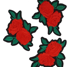 4 Hot Fix Iron On Embroidered Roses Patches Appliques