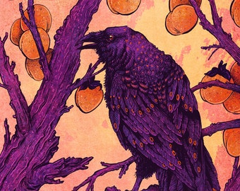 "8x10"" Raven and Persimmons Metallic Print"