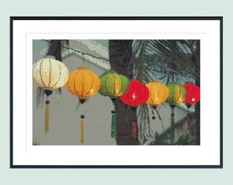 Cross stitch patten, modern cross stitch pattern, lanterns, lanterns cross stitch pattern, asian cross stitch pattern, instant download