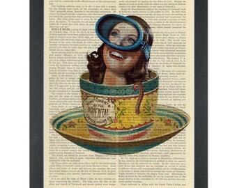 Scuba diving in a tea cup Dictionary Art Print