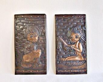 Bathroom/Toilette Door Signs. Vintage Bas Reliefs. Embossed Brass Wall Sculptures. Applied Arts. Wall Hanging. Home Decor.