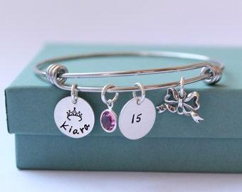 Personalized Charm Bracelet, Quinceanera Jewelry, Sweet 16 Bracelet, Hand Stamped Bracelet, Sweet 16 Jewelry, Bangle Bracelet, Adjustable