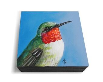 Humming bird painting - ruby throated hummingbird art - woodland bird decor - original painting - realistic wildlife art - hummingbird gift