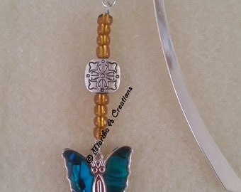 Silver Teal Butterfly Bookmark