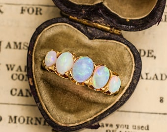Antique Victorian Opal 5-Stone Ring in 18k Gold, Circa 1900
