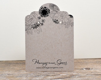 Earring Cards Custom Jewelry Display Packaging Tags - Personalized Die Cut Large Long - Black White Floral Design