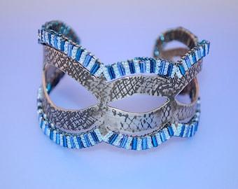 SALE 10% OFF--Blue Ajoure: Fabricated and Beaded Bracelet