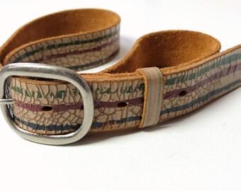 Vintage Men's Leather Belt Brown Three Lines