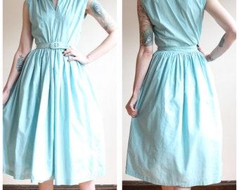 1940s Dress // Chambray Cotton Day Dress // vintage 40s dress