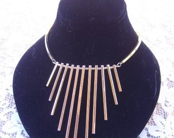 Vintage Gold Metal Dangle Bar Necklace