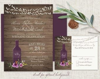 Vineyard Wedding Invitations Set Printable Rustic Wine Country