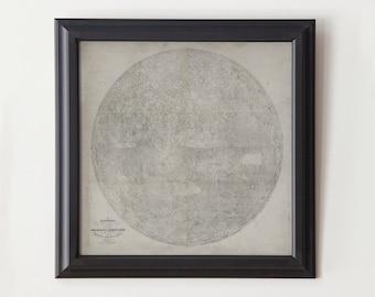 Moon Map: Unframed Vintage Lunar Map - 1834 - Poster Print