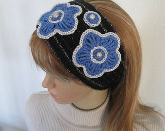 Alaska state flower,Forget Me Not,crochet headband,knit wrap,cancer hat,chemo hat,cancer patient,chemo patient,cancer gifts,mother daughter