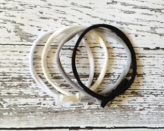 Skinny headband, headband set, simple headband, monochrome headband, baby headband, knot headband,newborn headband