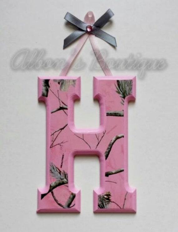 Pink Camo Letters // name sign // real tree // camouflage