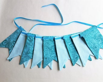 """MINI Fabric Bunting - 1.38 m/54"""" with 9 Double Dovetail Flags Pastel Pink Mint Teal Sky Blue Ribbon Nursery Decor Baby Shower Home Decor"""