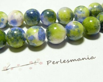 2 beads jade colored 12mm blue green R73089