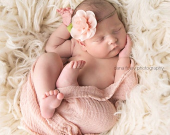 baby headband - you pick color - baby girl headbands - baby girl headbands - peach flower headbands - flower baby headbands - READY TO SHIP