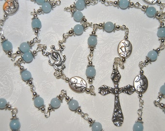 Sterling Silver Light Blue Jade Rosary