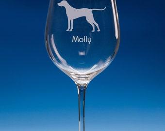 Hungarian Vizsla Wine Glass Personalised Engraved Dog Lover Gift, Vizsla Dog Gift, Dog Wine Glass, Gift For Dog Lover, Vizsla Gift,