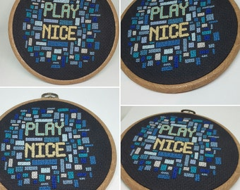 Play nice DOWNLOAD cross stitch pattern - PDF file