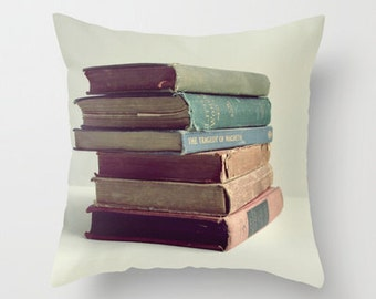 Photo Pillow Cover Decorative Old Books 16x16