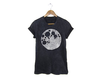 Full Moon Tee - Boyfriend Fit Crew Neck Tshirt with Rolled Cuffs in Black Mineral Wash and White - Women's S-4XL