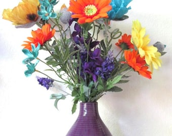 Bright Poppy and Gerbera Daisy Silk Floral Arrangements - Buy 1 or 2 (one sold)