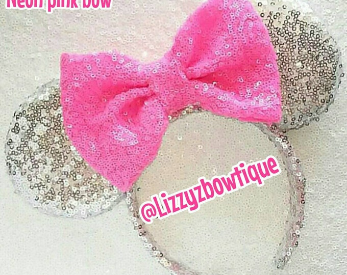 Silver Sequin Minnie ears with pink neon bow or pick any color bow