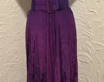 Vintage Nina Piccalino Iridescent Long Purple Dress  With Wide Belt Size M-L