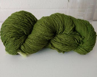 Recycled Yarn, 100% cotton, Kelly Green, Worsted weight, 610 yards in 350g