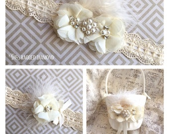 Flower girl basket with lace, lace flower girl basket, lace basket and pillow set, flower girl basket lace, ivory lace flower girl basket