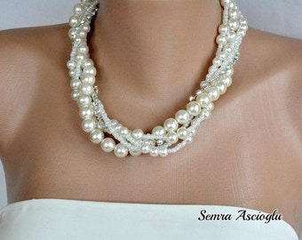 4 Sets Pearl Necklace and Earrings , Bridesmaids Gifts, Glass Pearl Necklaces with Rhinestone Strand